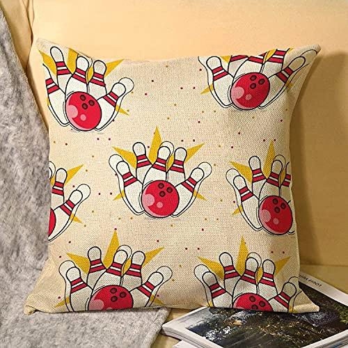 Unterhaltung Bunte Bowlingkugel Muster Kissenbezug - Kissenbezug Abdeckung Home Flachs Kissenbezug für Wohnzimmer, Sofa, Schlafzimmer, Haus & Hotel
