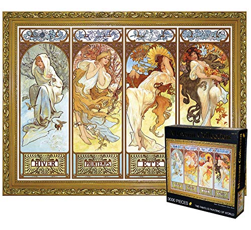 3000 Piece Large Jigsaw Puzzle The Four Seasons & Musa Famous Oil Painting DIY Puzzle Relieve Stress for Kids Adults,Pieces Fit Together Perfectly