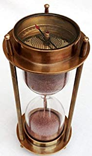 "AnNafi 7"" Nautical Brass Sand Timer Hourglass with Maritime Brass Compass Table Decorative"