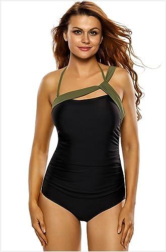 QPLA Clothing Thatch Maillot de Bain pour Femme Bikinis Maillots Deux pièces mode Sexy,noir + Army vert,XXXL