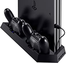 PS4 Controller Charger with Dual Cooling Fans, Cooling Stand with Dual Charger Ports for PS4/ PS4 Slim/ PS4 Pro