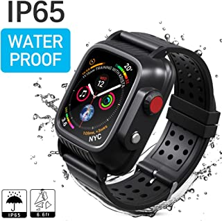 Waterproof Case Compatible with Apple Watch Series 3 42mm, MixMart Waterproof Watch Case for iWatch Series 3 42mm with Built-in Screen Protector and 3 Watch Strap Bands S/M/L, Black