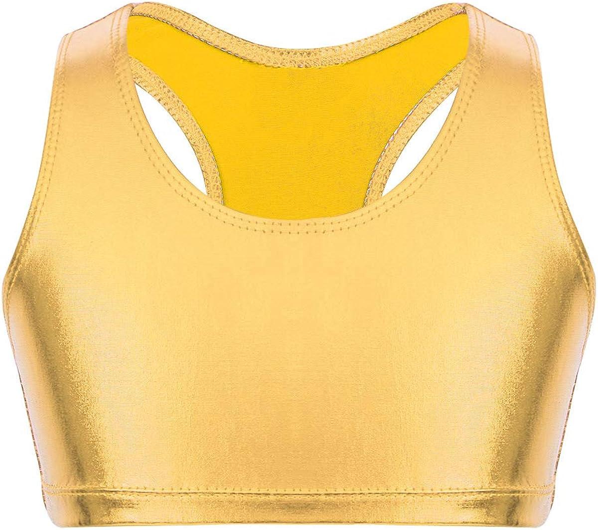 moily Big Girls Metallic Racer Back Crop Top Sports Bra for Gymnastics/Dance/Workout Camisole