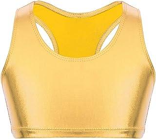 Agoky Crop Top de Danza Charol para Niñas Chaleco Corto de Baile Moderno Sujetador Deportivo de Yoga Running Fitness Gym T...