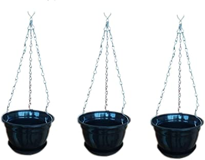 Plastic Hanging Planter with Metal Chain and Base Plate (Black) Pack of 3 TTT