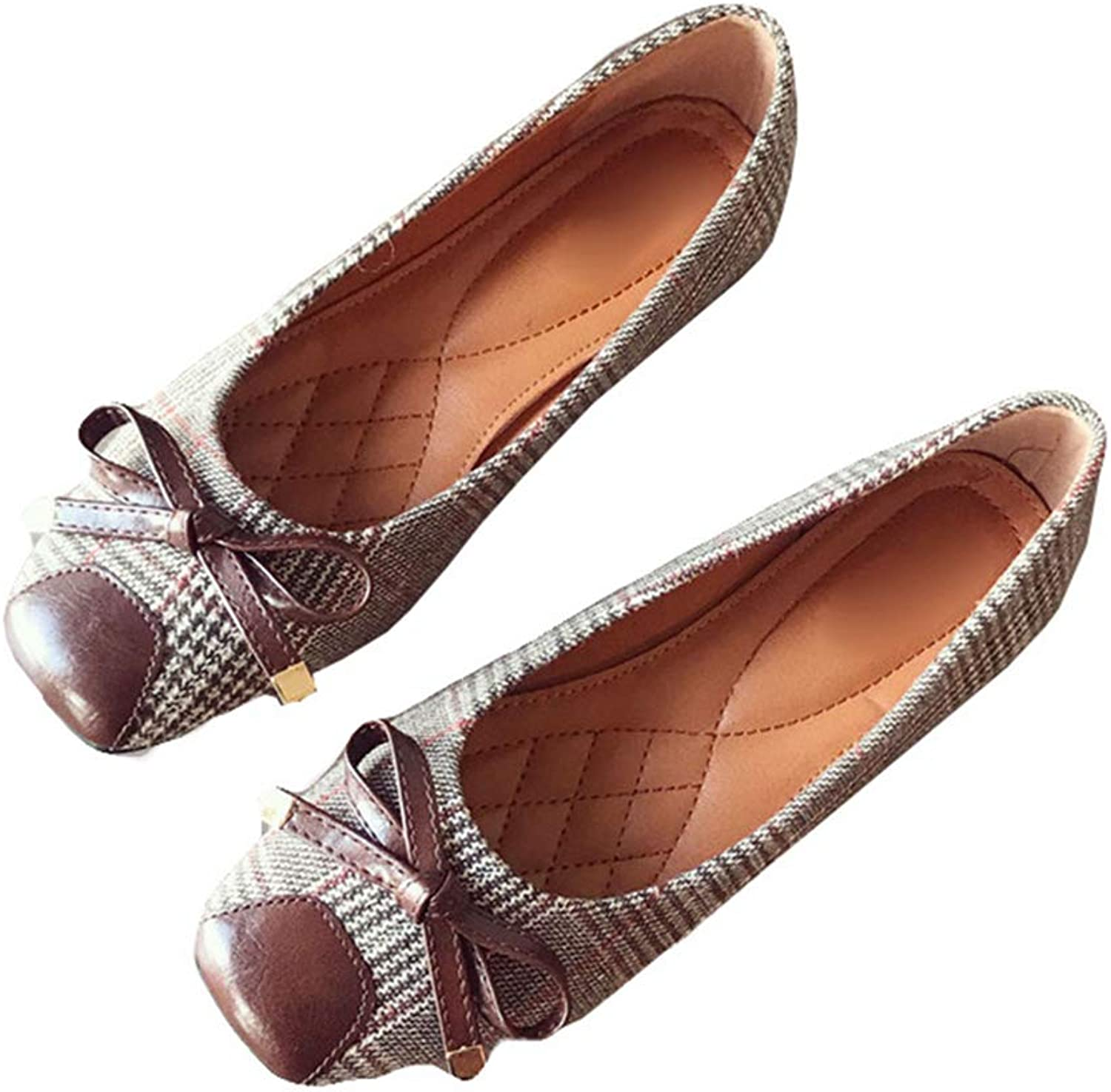 August Jim Women's Flat shoes Check Gingham Slip-on Comfort Bowknot Ballet Flat shoes