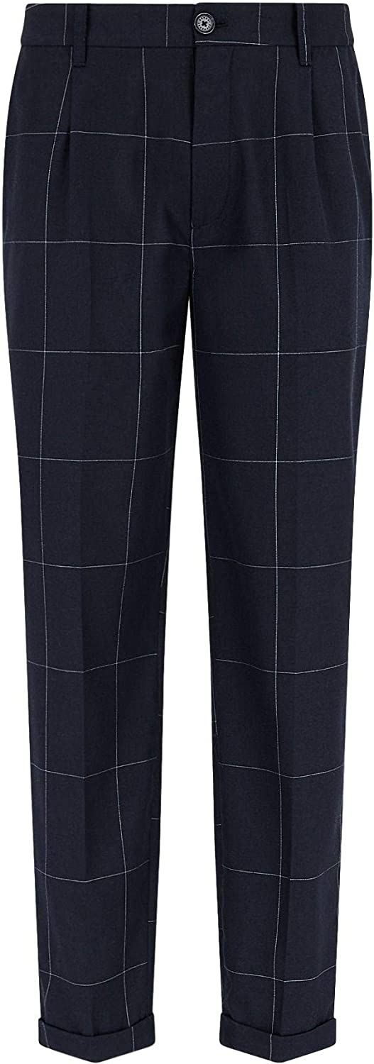 AX Armani New Free Shipping Exchange Men's Pin Dyed Check Pleated Bombing free shipping Yarn Trouser