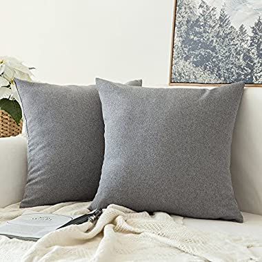 Miulee Pack of 2, Decoration Faux Linen Burlap Decor Square Throw Cushion Cover Cushion Case for Living Room Sofa Bedroom Car 18 x 18 Inch 45 x 45 Cm