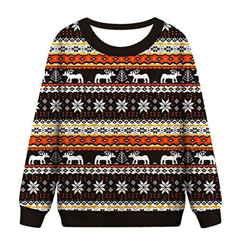 Beautynie Frauen Sweatshirt Pullover Weihnachten Sweater Traditionelles Drucken Hoodie Collegejacke übergangsjacke Sportjacke Tops