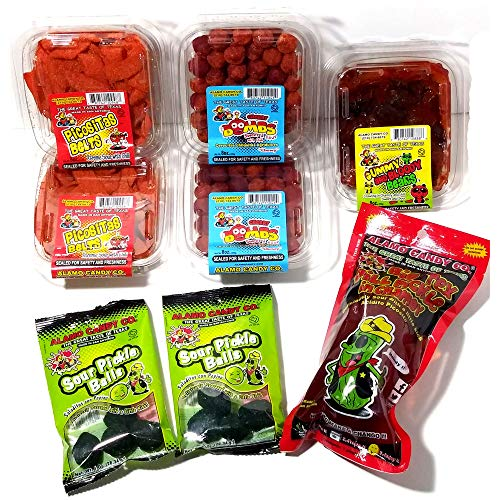 Alamo Candy Variety Candy Pack - Mexican Candy Mix (8 Count) - Gummy Bears In Chamoy and Chili, Cherry Bombs With Chili, Big Tex Dill Pickle In Chamoy, Sour Chewy Chili Belts, and Sour Pickle Balls