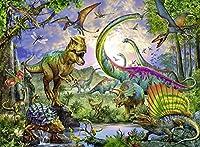 木製のパズル500ピース、恐竜の時代、ホームオフィスの装飾、子供向けのDIYおもちゃPUZZLE(52×38 CM)