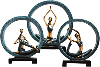Amazon.com: DAVITU Creative Resin Yoga Girl Figurines ...