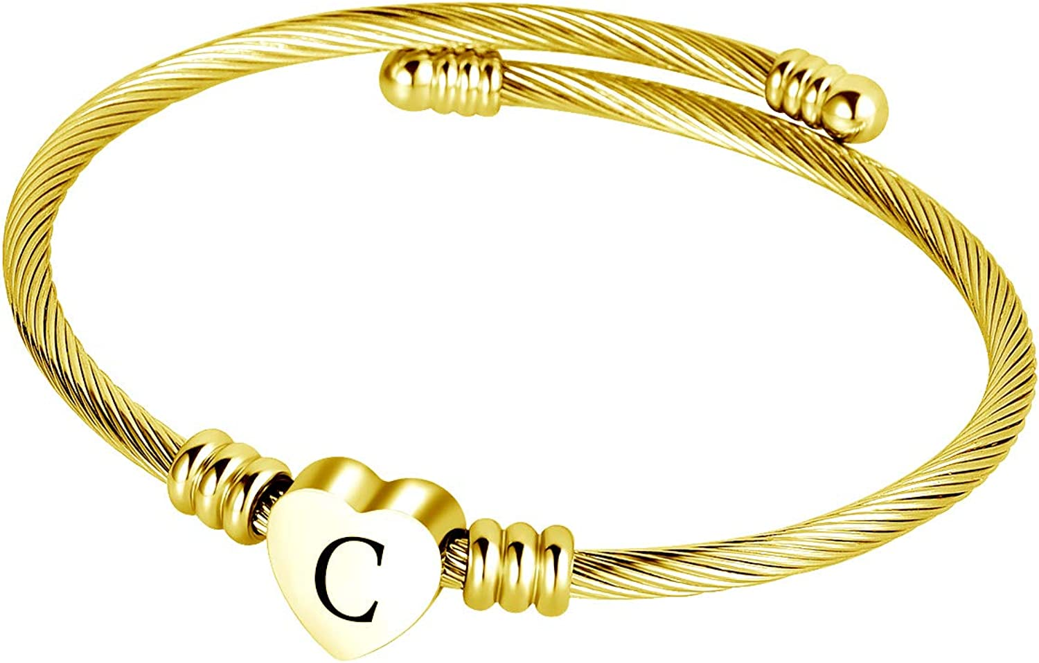 QeenseKc Gold Initial 26 Letters Heart Charm Bracelet Name Cuff Stainless Steel Expandable Bangle Wrist for Women