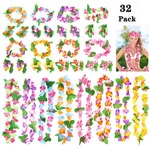 Annhao 32 Piezas Hawaianas Leis Luau Flores con 16 Pulseras 8 Diademas y 8 Collares para Luau Hawaiian Party Decoraciones Suministros Photo Booth Props