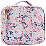 Joligrace Makeup Travel Bag Organizer for Women Cute Cosmetic Storage Train Case Portable Big Large Capacity with Adjustable Dividers for Make-Up Brush Toiletry Jewelry Pink Floral Print