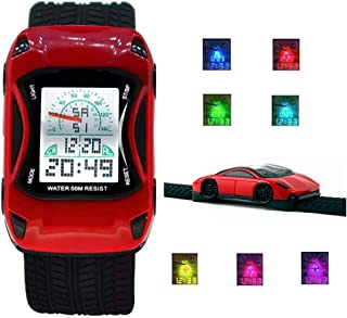 MINILUJIA Kids Watches 50M Waterproof Sports Digital LED Digital Wristwatches 7 Colors Flashing Car Design Wrist Watches for Children,for Age 4-12 Grils and Boys