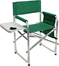 Niceway Directors Chairs Outdoor Portable Folding Chair Green with Side Table and Storage Bag, Lightweight Aluminum Frame Supports 300lbs
