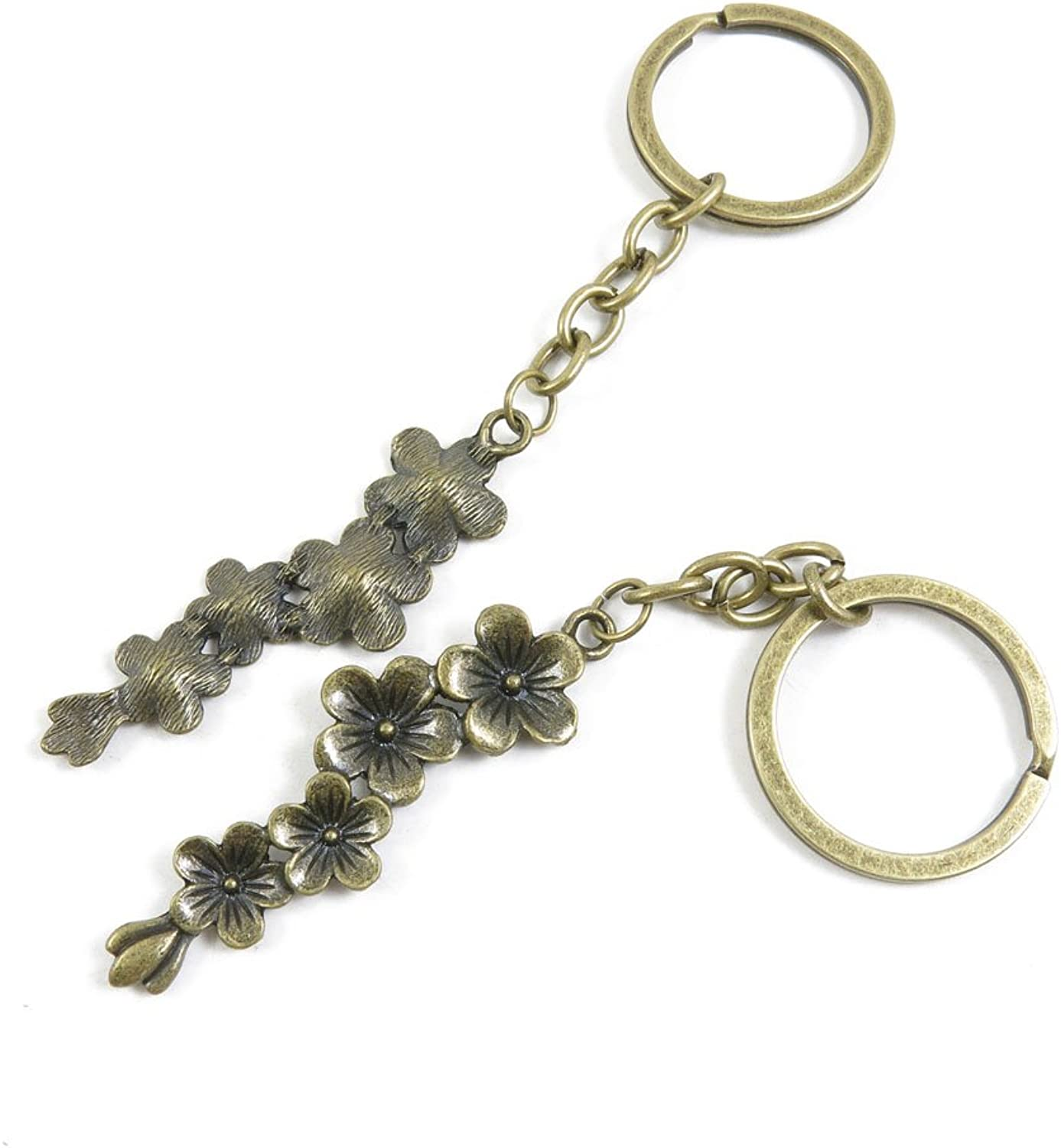 130 Pieces Fashion Jewelry Keyring Keychain Door Car Key Tag Ring Chain Supplier Supply Wholesale Bulk Lots P5BU4 Cherry Blossoms