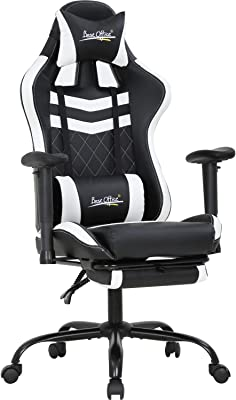 PC Gaming Chair Ergonomic Office Chair Racing Computer Chair with Lumbar Support Headrest 2D Armrest Footrest Task Rolling Swivel Ergonomic E-Sports Adjustable Desk Chair for Men Gamer(White)