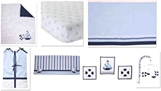 Bacati - Little Sailor 10-Piece Nursery in a Bag Crib Bedding Set 100 percent cotton percale Boys Crib Bedding Set with 2 crib fitted sheets (Bumper Pad not included)