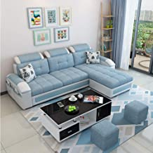 Sofa Set, Fabric Sofa Small Apartment Modern Simplicity Sofa Set with Black and White Coffee Table for Apartment Living Ro...