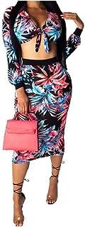 GodeyesW 女性のセクシーなol花ファッションスキニー2ピーススカート衣装