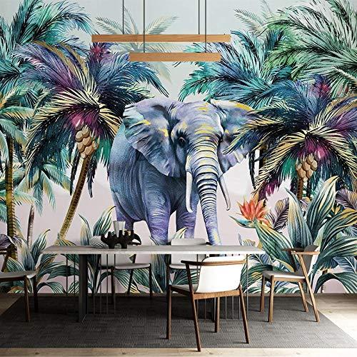 Aangepaste foto tropische planten kokosnoot boom olifant aquarel muurschildering 3D woonkamer eetkamer wandpaneel…
