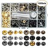 120 Set Leather Snap Fasteners Kit, 12.5mm Metal Button Snaps Press Studs with 4 Setter Tools, 6 Color Leather Snaps for Clothes, Jackets, Jeans Wears, Bracelets, Bags