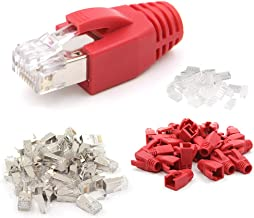 VCE 30-Pack Nickel Plated Shielded RJ45 Cat6A/Cat7 Modular Plug with Cat7/Cat6A Ethernet RJ45 Cable Cap Connector Strain Relief Boots-Red