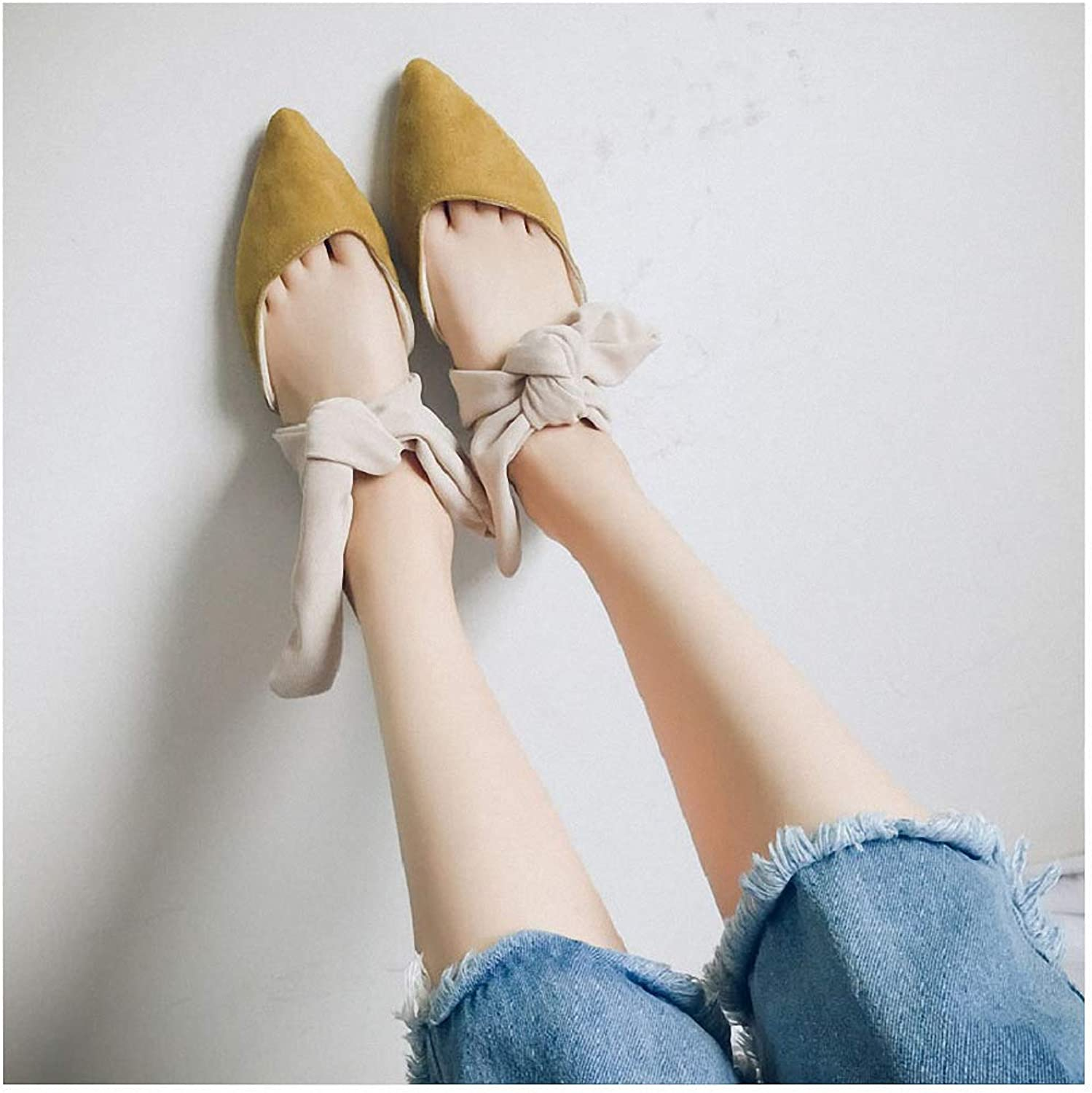 Tebapi Womens Low-Heeled Sandal shoes Women's shoes with a Bow Tip Muller Half Slippers Cool Slippers