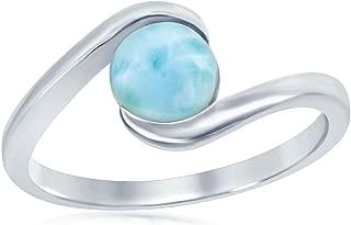 Sterling Silver Natural Round Larimar Stone Swirl Design Ring