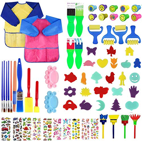 Queta Kits de Peinture pour Enfants Brosses de Peinture Éponge Brosses de Peinture Enfant avec Palette et Tablier (69Pcs)