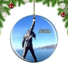 Weekino Suiza Freddie Mercury Memorial Montreux Decoración de Navidad Árbol de Navidad Adorno Colgante Ciudad Viaje Colección de Recuerdos Porcelana 2.85 Pulgadas