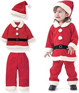 3Pcs Christmas Costume Toddler Boys Girls Fleece Santa Claus Tops Coats+Pants+Cap Clothes Set