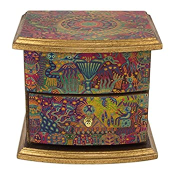 NOVICA Colorful Decoupage On Pinewood Jewelry Box with Drawers Huichol Vision