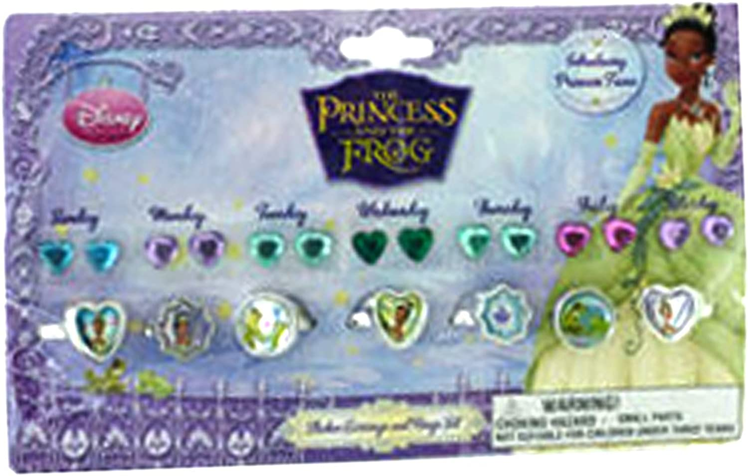 Princess and the Frog Rings and Earrings Set - 7 Day Ring Set [Toy]