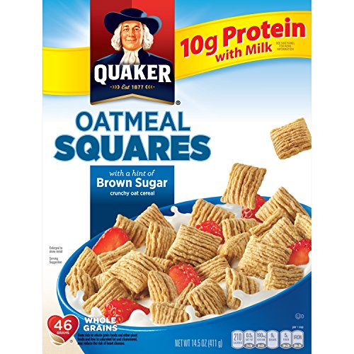 Quaker Oatmeal Squares Brown Sugar 14.5-Ounce Box (Pack of 4 Boxes)