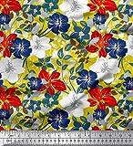 Soimoi Gelb Schwere Canvas Stoff Blätter & Blumen