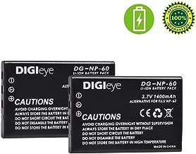 DIGIeye 2 x 1400mAh NP-60 Replacement Battery for Fujifilm NP-60, Kodak KLIC-5000, Samsung SLB-1137, Olympus Li-20B and Fujifilm FinePix 50i, 601, F401, F410, F601, M603, Kodak EasyShare DX6490, DX744