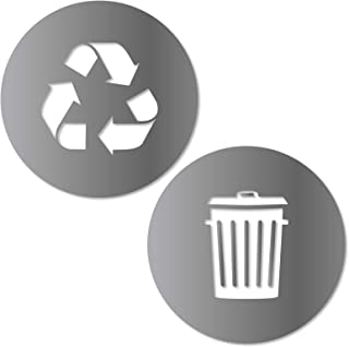 Recycle and Trash Sticker Logo Style 2 (2.75in x2.75in) Symbol to Organize Trash cans or Garbage containers and Walls - XSmall Silver Metallic Vinyl Decal Sticker