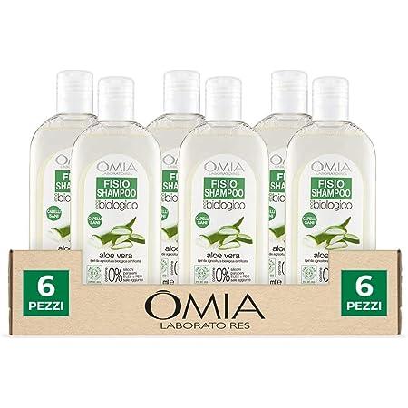 Omia, Fisio Shampoo Idratante e Equilibrante per Capelli Secchi e Cuoio Capelluto Delicato, Ecobio Aloe Vera - 6 Confezioni da 250 ml