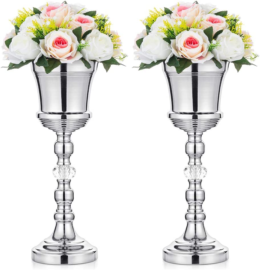 2 Pcs Tabletop 2021 model Metal Wedding Flower Vase Crystal cheap Trumpet T with