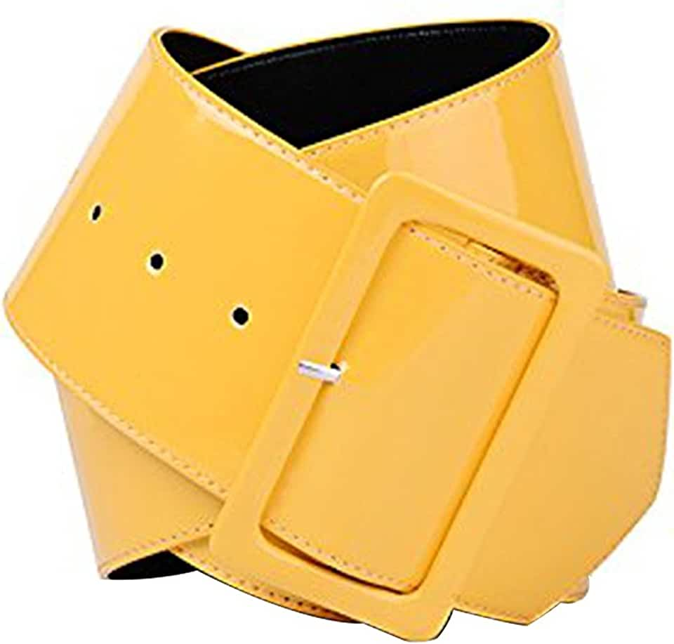 Womens Retro PVC Wide Cinch Belt - Big Buckle Waist Shiny Srylish Girls 70's Style