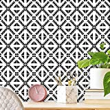 """Black and White Wallpaper Peel and Stick 17.7""""x118.1"""" Glossy Waterproof Wallpaper for Kitchen Contact Paper Self Adhesive Geometric Wall Paper Kitchen Countertop Wallpaper Removable Backsplash Decor"""