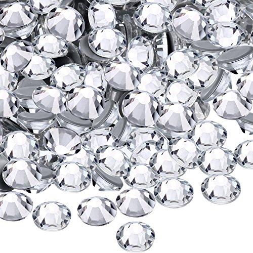 WILLBOND 1440 Pack Hot Fix AB Crystals Flatback Hotfix Rhinestones Round Gems Glass Stones (Clear, 5MM)