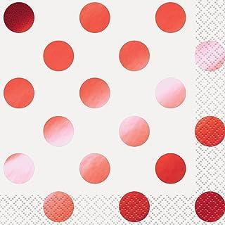 Foil Red Polka Dot Beverage Napkins, 16ct