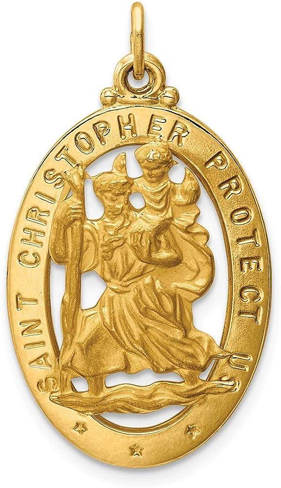 Solid 14k Yellow Gold Catholic Patron Saint Christopher Medal Pendant Charm - 33mm x 17mm