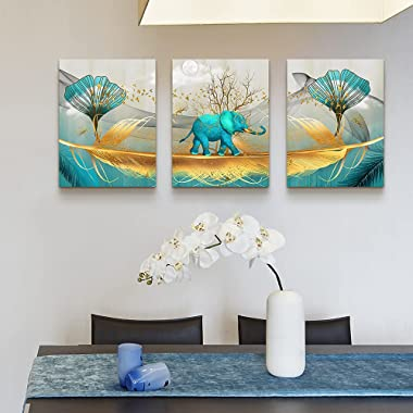 3 Piece Elephant Canvas Wall Art for Living Room Bathroom Contemporary Watercolor Picture Wall Decor for Bedroom Dining Room