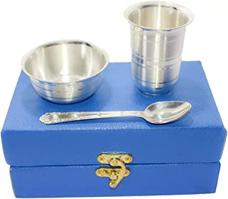Msa Jewels Pure Silver Bowl with Glass and Spoon Set