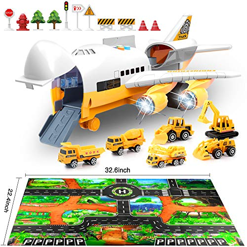 Car Toys Set with Transport Cargo Airplane and Large Play Mat, Educational Vehicle Construction Car Set for Kids Toddler Boys Child Gift for 3 4 5 6 Years Old, 6 Cars, Large Plane, 11 Road Signs